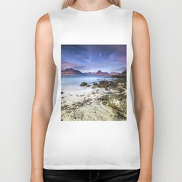 Beach Scene - Mountains, Water, Waves, Rocks - Isle of Skye, UK Biker Tank