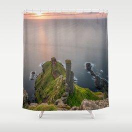 The Chimney Stack,Ireland,Northern Ireland,Giants Causeway Shower Curtain