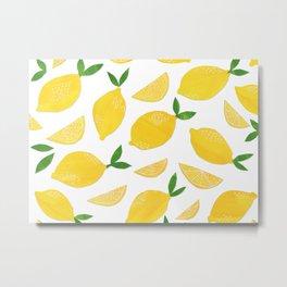 Lemon Cut Out Pattern Metal Print