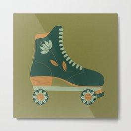 Retro Flower Skate- Forest Green Metal Print