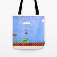 mario Tote Bags featuring Mario by let's build a boat