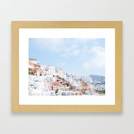 Pastel Colored View on Santorini Greece Framed Art Print