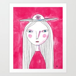 Hat Girl Art Print