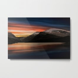Lake Sunset Snowdonia Metal Print