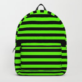Bright Green and Black Horizontal Stripes Backpack