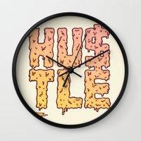 hustle Wall Clocks featuring HUSTLE by Wesley Bird