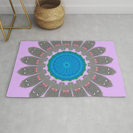 Hippo Huddle Mandala Design Rug