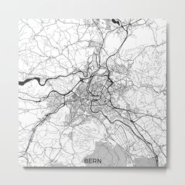 Bern Map Gray Metal Print