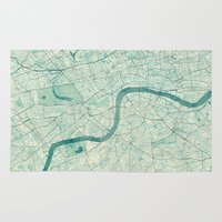 vintage map Area & Throw Rugs featuring London Map Blue Vintage by City Art Posters