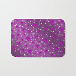 purple shiny stars and metal structure lilac sweet hearts Bath Mat