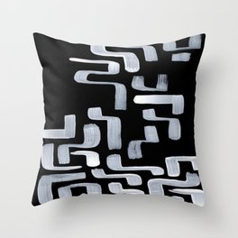 Strange Minimalist Abstract Ghostly Tribal Primitive Art Mid Century Modern Pattern Throw Pillow