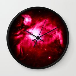 Magenta Pink Orion NebULA : Hauntingly Beautiful Space Wall Clock