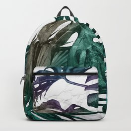 Tropical Palm Leaves on Marble Backpack