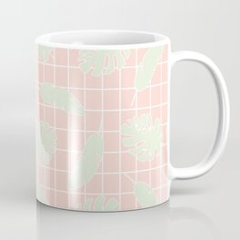 Graphic Tropical Leaves on Grid Pink and Mint Green Coffee Mug