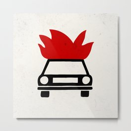 the car's on fire Metal Print