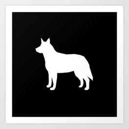 Australian Cattle Dog silhouette portrait dog pattern grey and white Art Print