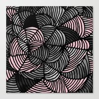 gray pattern Canvas Prints featuring Abstract Pattern - Gray & Pink by Georgiana Paraschiv
