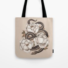 Snake and Peonies Tote Bag