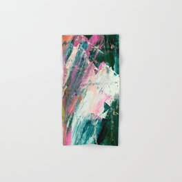 Meditate [2]: a vibrant, colorful abstract piece in bright green, teal, pink, orange, and white Hand & Bath Towel