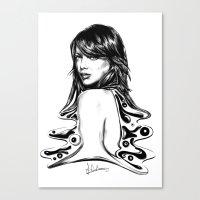 emma stone Canvas Prints featuring Emma Stone Semi Abstract by jaytenart