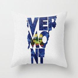 Vermont Typographic Flag Map Art Throw Pillow