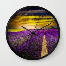 Lavender Fields Under a Golden Sunset Twilight landscape painting Wall Clock