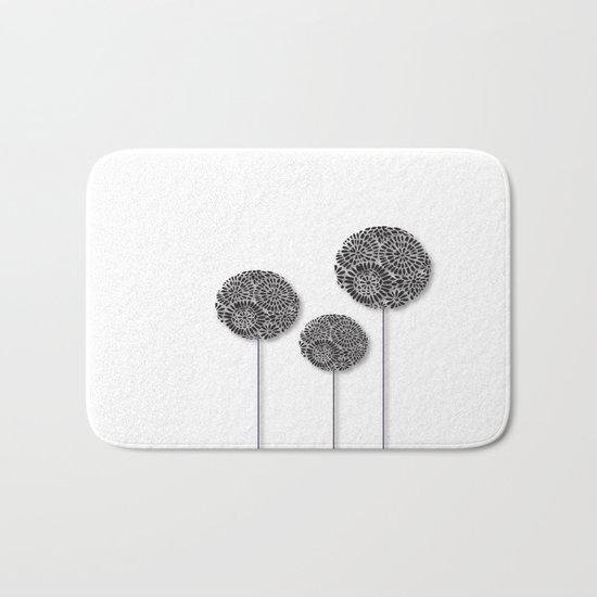Black Dandelion Bath Mat