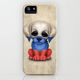 Cute Puppy Dog with flag of Russia iPhone Case