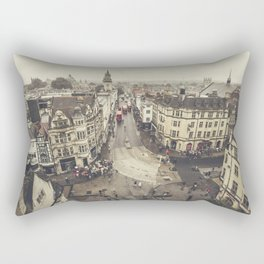 Red buses at Oxford Rectangular Pillow