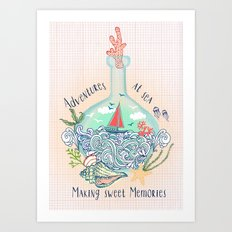 Bottle Ship Art Print