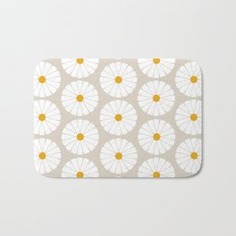 Minimal Botanical Pattern - Daisies Bath Mat