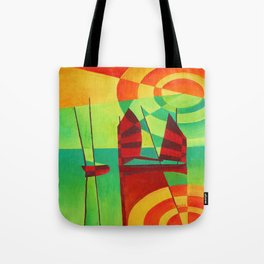 Chinese Junks On Still Waters Tote Bag