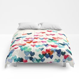 Heart Connections - watercolor painting Comforters