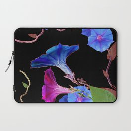 Black  Color Blue Morning Glory Art Design Pattern Laptop Sleeve