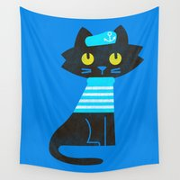 sailor Wall Tapestries featuring Fitz - Sailor cat by Picomodi