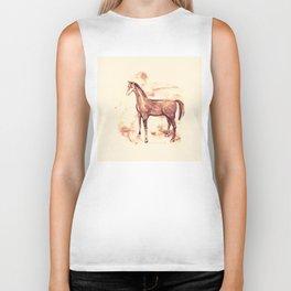 Horse sepia illustration Biker Tank