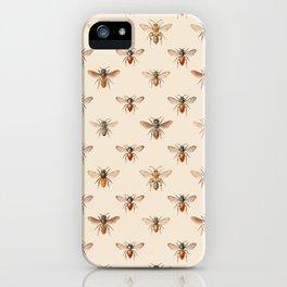 Vintage Bee Illustration Pattern iPhone Case