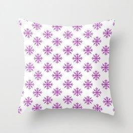 Snowflakes (Purple & White Pattern) Throw Pillow