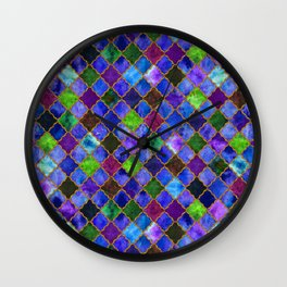 Peacock Arabesque Digital Quilt Wall Clock