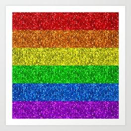 LGBT flag vibrant rainbow glitter sparkles Art Print