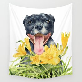 Joy | Pit Bull Dog and Daylily Watercolor Painting Wall Tapestry