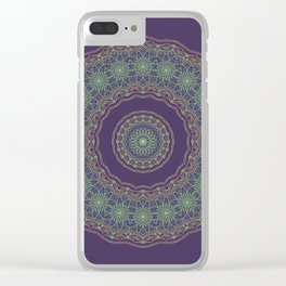 Lotus Mandala in Dark Purple Clear iPhone Case