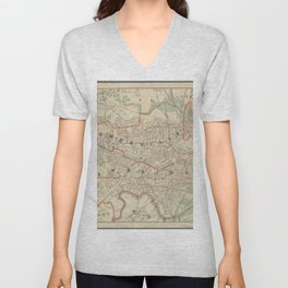 Beautiful 1892 Vintage Map of Cambridge and Somerville Unisex V-Neck