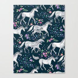 Unicorns and Stars on Dark Teal Canvas Print
