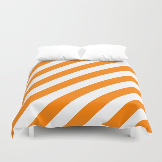 Diagonal Stripes (Orange/White) Duvet Cover
