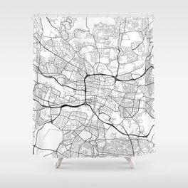 Glasgow Map, Scotland - Black and White Shower Curtain