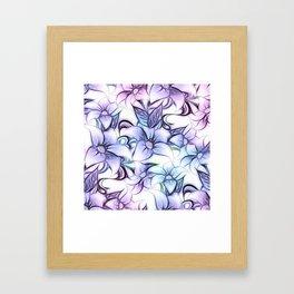 Violet pink teal hand painted sketch elegant floral Framed Art Print