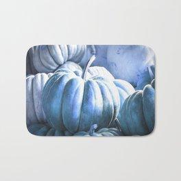 Autumn Pumpkins Blue Bath Mat