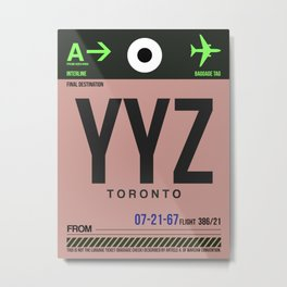 YYZ Toronto Luggage Tag 2 Metal Print