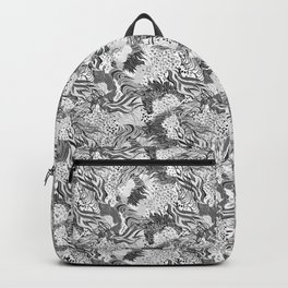 cute seamless abstract grass flower line pattern black white Backpack